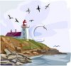 Clip art illustration of a large beautiful lighthouse on the edge of the ocean with birds flying clipart
