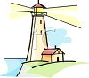 clip Art illustration of a lighthouse with the light beaming clipart