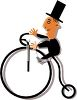 Clip Art Illustration Of A Man Wearing In A circus riding a bicycle with a large front wheel clipart
