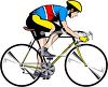 clip art image of a man riding a yellow bicycle clipart