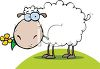 clip art illustration of a sheep grazing in the grass clipart