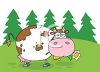 clip art illustration of a cow in the grass chewing on a daisy clipart