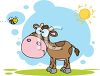 clip art illustration of a calf standing in the sunshine on a patch of grass clipart
