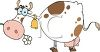clip art illustration of a white cow with brown spots chewing on a flower clipart