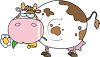 clip art illustration Of a Fat Cow With Brown spots Chewing On A flower clipart