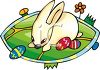 clip art illustration of an easter bunny in a grassy field with colored easter eggs clipart