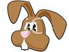 clip art illustration of the face of a brown Easter bunny clipart