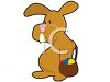 clip art illustration of a brown easer bunny holding a basket of colored eggs clipart