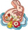 clip art illustration of an easter bunny on a doilie with colored easter eggs clipart
