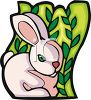 cartoon clip art of a pink Easter bunny sitting in tall grass clipart