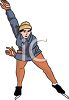 clip art image of a woman speed skating on ice clipart