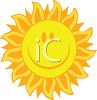Image of a sun with a happy face in a vector clip art illustration clipart