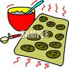 clip art illustration of a mixing bowl of cookie mix and cookies in a pan clipart