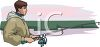 Image of a man fishing In A vector clip art illustration clipart