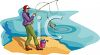Image Of a man fishing in a lake in a vector clip art illustration clipart