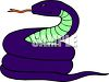 picture Of A blue snake coiled up and hissing in a vector clip art illustration clipart