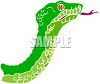 Picture Of a green snake with his tongue sticking out in a vector clip art illustration clipart