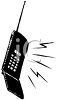 Image of a black cell phone in a vector clip art illustration clipart