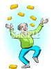 happy old man with lots of money and wealth clipart