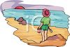 image of a child with her shovel and bucket ready to play in the ocean sand clipart