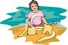 image of a girl making sandcastles at the ocean beach in a vector clip art image clipart