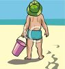 Image of a toddler holding a bucket standing in the sand at the beach in a vector clipart illustration clipart