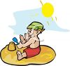 image of a toddler sitting in the sand playing on a warm sunny day in a vector clipart illustration clipart
