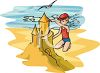 image of a boy making a giant sandcastle on the beach in a vector clip art illustration clipart