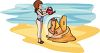 image of a girl pouring salt water into her sandcastle in a vector clip art illustration clipart