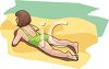 young girl laying on the beach on a sunny day in a vector clip art illustration clipart