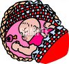 image of a sleeping baby in a bassinet in a vector clipart illustration clipart