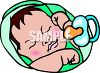 image of a baby sleeping wrapped in blanket with a pacifier  clipart