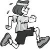 Image of a woman smiling and jogging with sweat dripping in a vector clip art illustration clipart