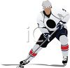 image of a man playing ice hockey. He has posession of the puck in a vector clip art illustration clipart
