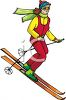 image of a young lady skiing downhill in a vector clip art illustration clipart