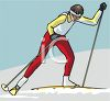 image of a woman snow skiing in a vector clip art illustration clipart