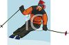 Image of a woman snow skiing under blue skies in a vector clip art illustration clipart