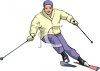 image of a man snow skiing in a vector clip art illustration clipart