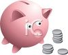 Cartoon drawing of a piggy bank with coins and loose change clipart