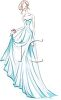 image of a woman wearing a blue prom dress in a vector clip art illustration clipart