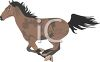 image of a brown horse with black spots running swiftly in a vector clip art illustration clipart
