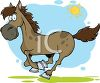 cartoon image of a horse running under blue skies and sunshine in a vector clip art illustration clipart