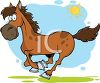 Cartoon Image of a brown horse running under blue skies and sunshine in a vector clip art illustration clipart