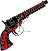 clip art image of a red and black pistol on a white background clipart