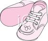 picture of pink pair of baby shoes in a vector clip art illustration clipart