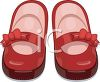 Image of a shiny red pair of girl's shoes in a vector clip art illustration clipart