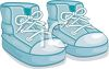 Image of a blue pair of toddler's high top tennis shoes in a vector clip art illustration clipart