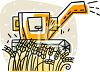 image of a machine harvesting wheat in a wheat field in a vector clip art illustration clipart
