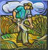 image of a man working in the wheat fields in a vector clip art illustration clipart