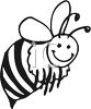 black and white clip art image of A Bumble bee flying with a smile in a vector clip art illustration clipart